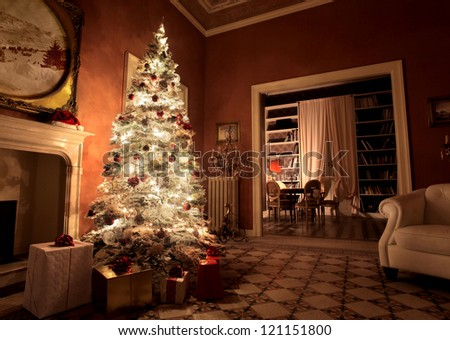 House with a christmas tree and some presents - stock photo