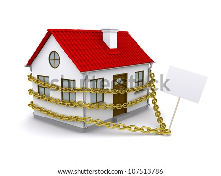 House with a sign enmeshed gold chain. Isolated on white background