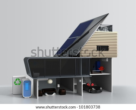 house with an extreme slope roof mounted solar panels,storage battery and recycle system. - stock photo