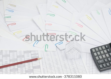 House with brown pencil and calculator on finance account have step of document with colorful paperclip place curve.