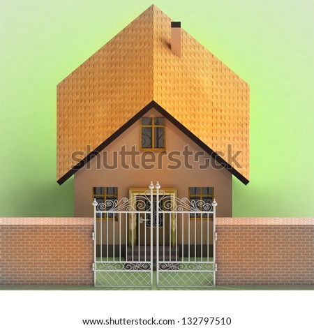 house with closed iron fence in brick wall  illustration