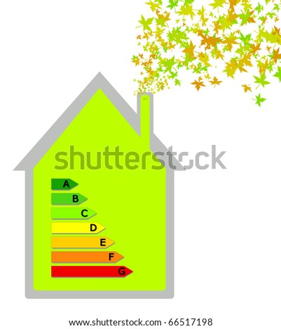 House with energy classification - stock photo