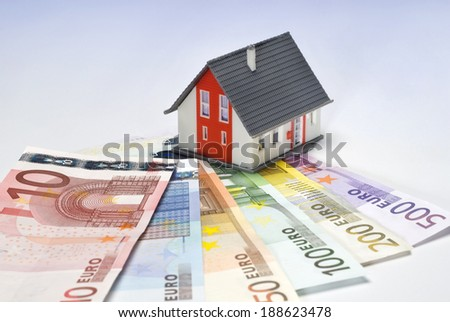 House with euro notes. - stock photo