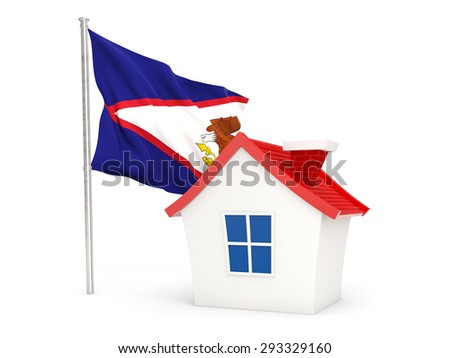 House with flag of american samoa isolated on white