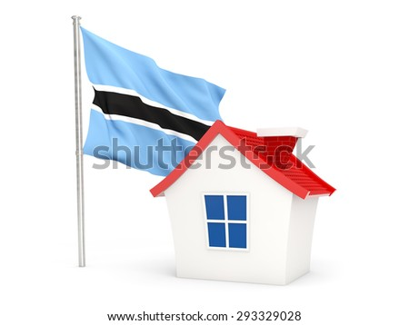 House with flag of botswana isolated on white