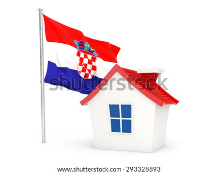House with flag of croatia isolated on white