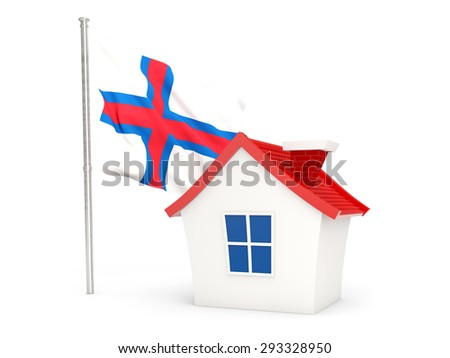 House with flag of faroe islands isolated on white