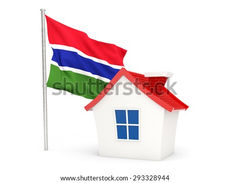 House with flag of gambia isolated on white