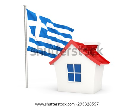 House with flag of greece isolated on white