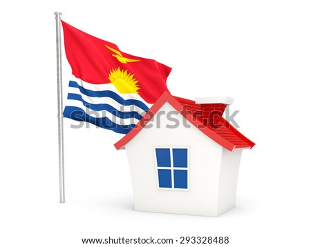 House with flag of kiribati isolated on white