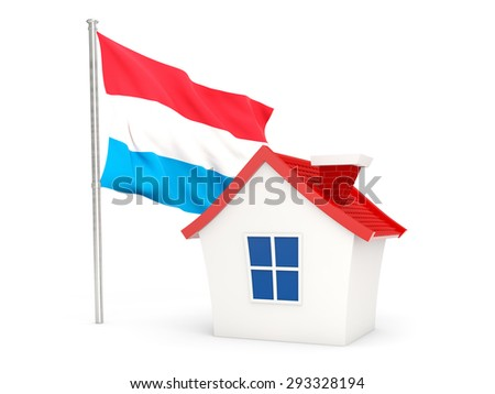 House with flag of luxembourg isolated on white