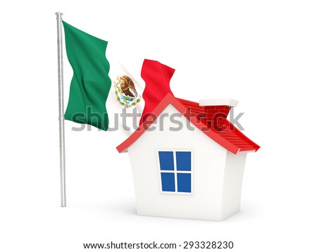 House with flag of mexico isolated on white - stock photo