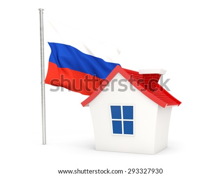 House with flag of russia isolated on white