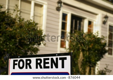 "House  with ""For Rent"" sign"