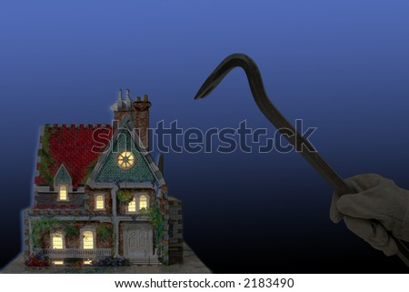 house with house-breaker and crowbar at night isolated on black and blue back-ground - stock photo