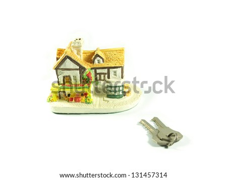 House with keys on white:  Home buying, ownership or security concept. - stock photo