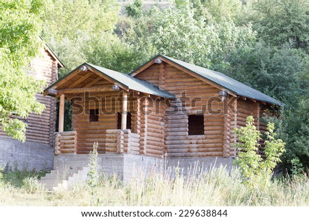 house with log - stock photo
