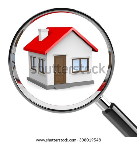 House with Magnifier on White Background 3D Illustration, Looking for Home Concept - stock photo