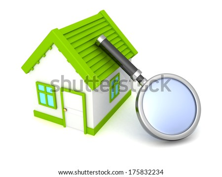 house with magnifying glass - stock photo