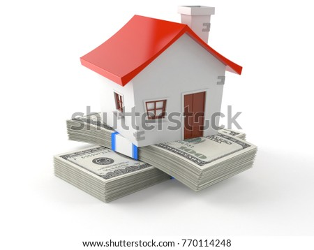 House with money isolated on white background. 3d illustration
