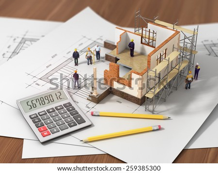 House with open interior on top of blueprints, documents and mortgage calculations and builders. Construction concept. - stock photo