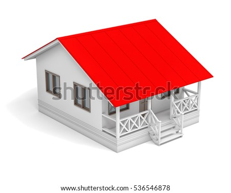 House with red roof and porch. Aerial view. 3D illustration. Isolated