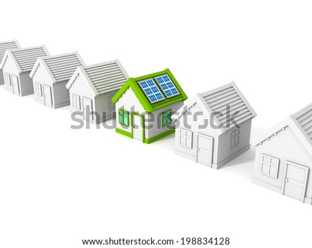 house with solar battery panels on the roof. 3d render illustration