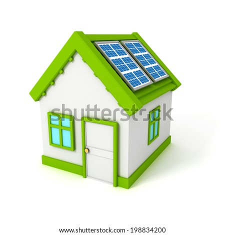 house with solar battery panels on the roof. 3d render illustration - stock photo
