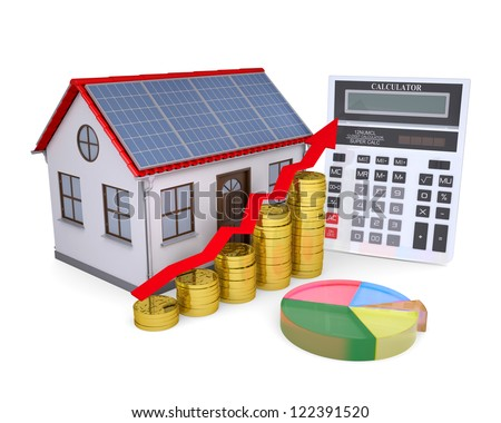 House with solar panels, calculator, schedule, and coins. Isolated render on a white background - stock photo