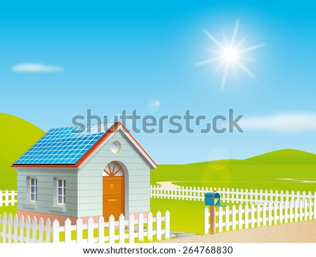 House with solar panels on the roof at a sunny day - stock photo