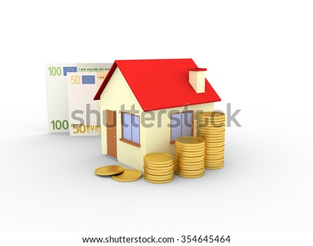 house with stacks of coins and banknote white background - 3d render - stock photo