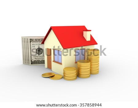 house with stacks of coins and dollar banknotes white background - 3d render