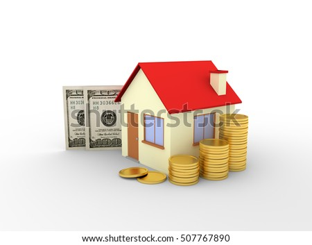 house with stacks of coins and dollar banknotes white background - 3d rendering