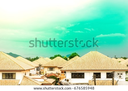 House with sun in the day, sky and trees as backdrop using the wallpapers or background. Use the Village project image and cityscape.