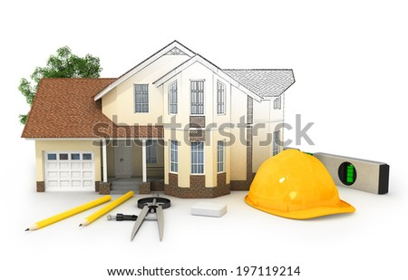 house, wood and pencil, 3d - stock photo