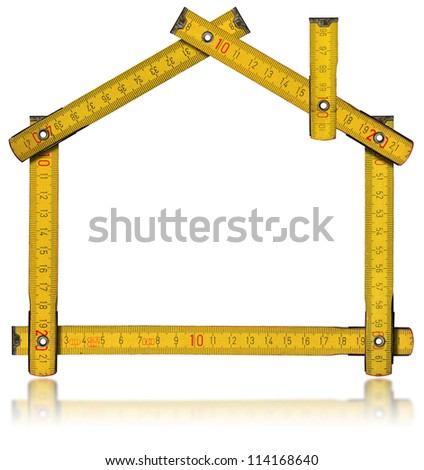 House - Wood Meter Tool / Wooden yellow meter tool forming a house with reflection on white background - stock photo