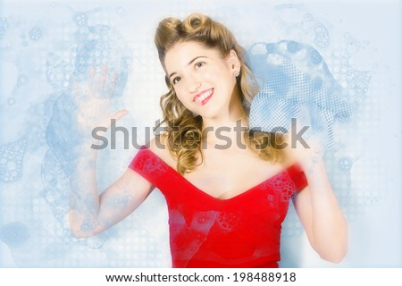 House working pinup woman from 1960 cleaning glass window pane with blue dotted cloth and lathered detergent suds. Pinup with dream - stock photo