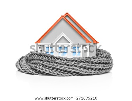 House wrapped in a scarf isolated on white. Conceptual image. - stock photo