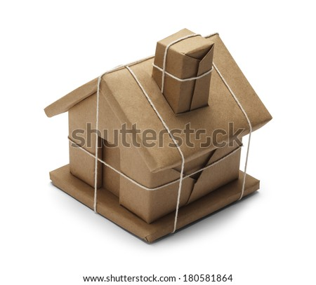 House Wrapped up In Brown Paper And Rope Isolated on White Background. - stock photo