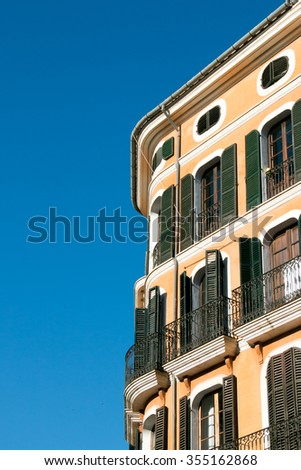 Housefront in Palma de Mallorca, Old Town, Majorca - stock photo