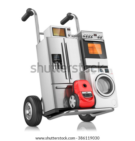 Household appliances on shopping cart, isolated on white background 3d - stock photo