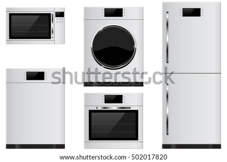 Household appliances - refrigerator, oven, microwave, dishwasher, washing machine. 3d illustration isolated on white background. Raster version