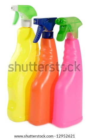 Household Cleaners on isolated white background