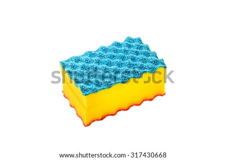 Household cleaning sponge isolated on white background. - stock photo