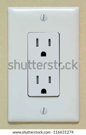 Household Electrical Outlet on the Wall. Power 110v - stock photo