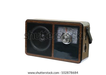 Household equipment: vintage wooden analog radio isolated on white background - stock photo