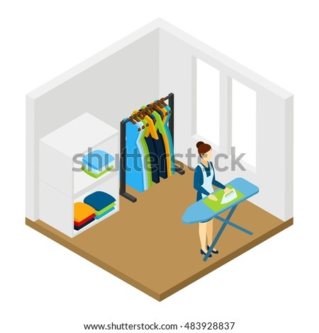 Household processional help for working women isometric pictogram with ironing and cleaning service at work abstract  illustration