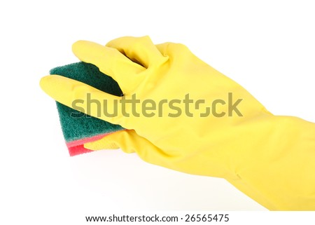 Household sponge in a hand on a white background