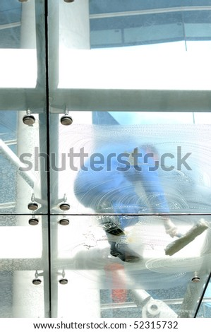 Housekeeper mobbing image taken from below - a series of CLEANER related images. - stock photo