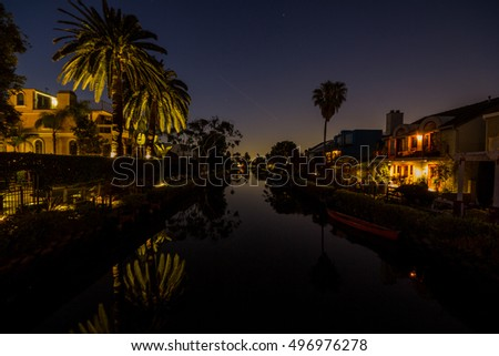 Houses along the Venice Canals at night, in Venice Beach, Los Angeles, California.